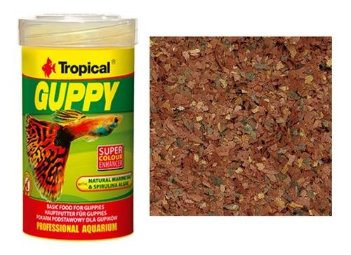 alimento premium hojuelas escamas guppy tropical 250ml
