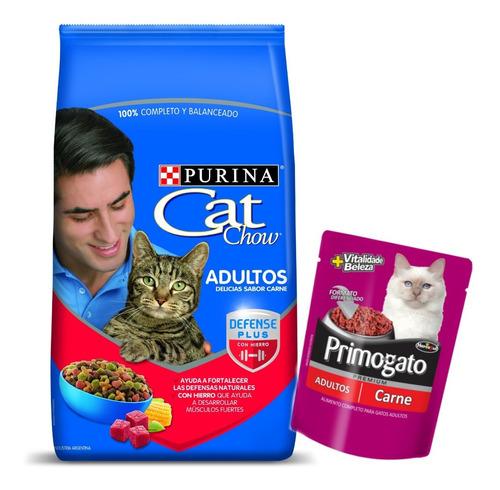 alimento purina cat chow adulto carne 8 kg con pouch gato