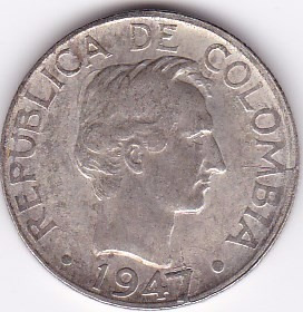 alineacion en cruz! 20 centavos 1947 - colombia