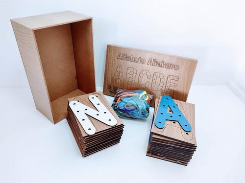 alinhavo alfabeto em mdf - brinquedo pedagógico