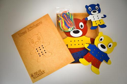 alinhavo infantil urso mdf - 9 peças