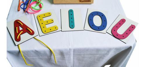 alinhavo infantil vogais mdf - 10 peças