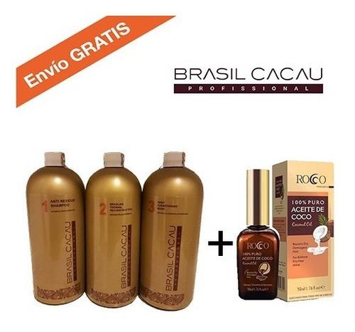 alisado permanente brasil cacau 1000ml + aceite de coco