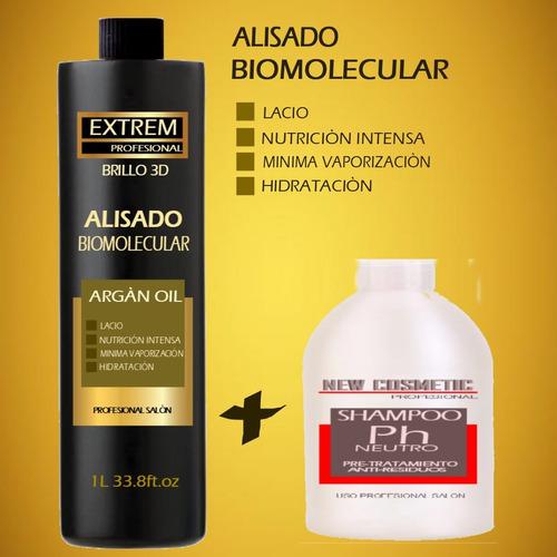 alisado plastificado bio molecular 1 litro + shampoo neutro