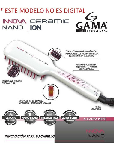 alisador gama nano ceramic cepillo innova digital antifrizz no frizz pelos suaves cabellos brillosos - garantia (133)
