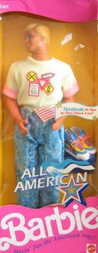 all american barbie ken muñeca w reebok zapatos 1990