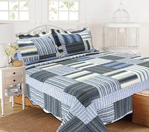 all for you 3pc reversible quilt set, colcha, mosaico azul
