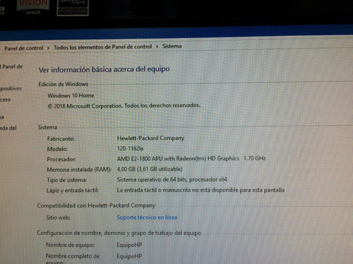 all in one hp omni 120 windows 10 1tb 4 ram 64 bit amd e2