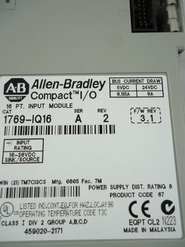 allen bradley 1769-iq16 compactlogix input module terminal m