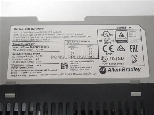 allen bradley 220vac 1/2hp 25b-b2p5n104 powerflex 525