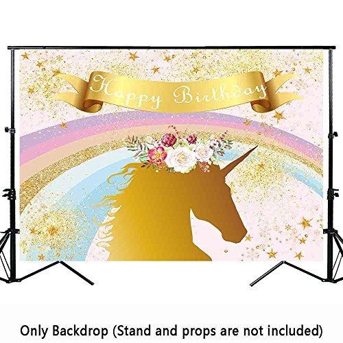 allenjoy 7x5ft golden unicorn birthday party telón de fondo