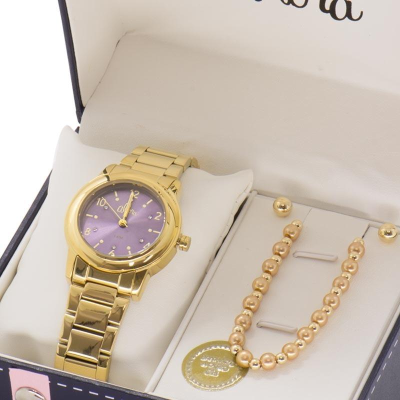cbbb87b046a Kit Relógio Allora Feminino Pulseira E Brincos Al2036fij k4g - R ...