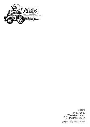 allways - mensajeria en moto & logistica - desde caballito