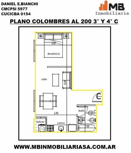 almagro  monoambiente con balcon en colombres al 200 4°c