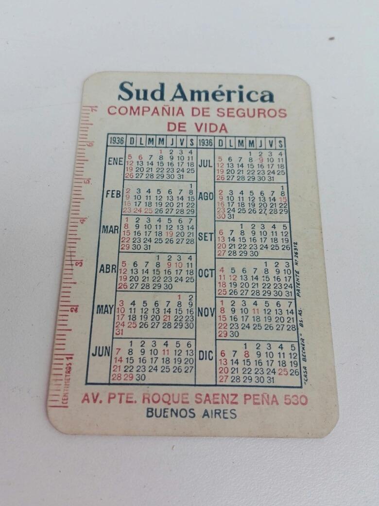 Calendario 1936.Almanaque Calendario 1936