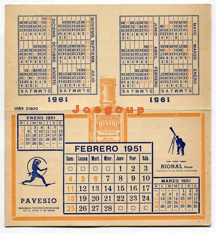 Calendario 1951.Almanaque Calendario Publicidad Histol Pirasalil 1951 100 00