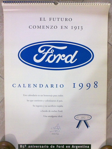 almanaque original ford año 1998 de coleccion
