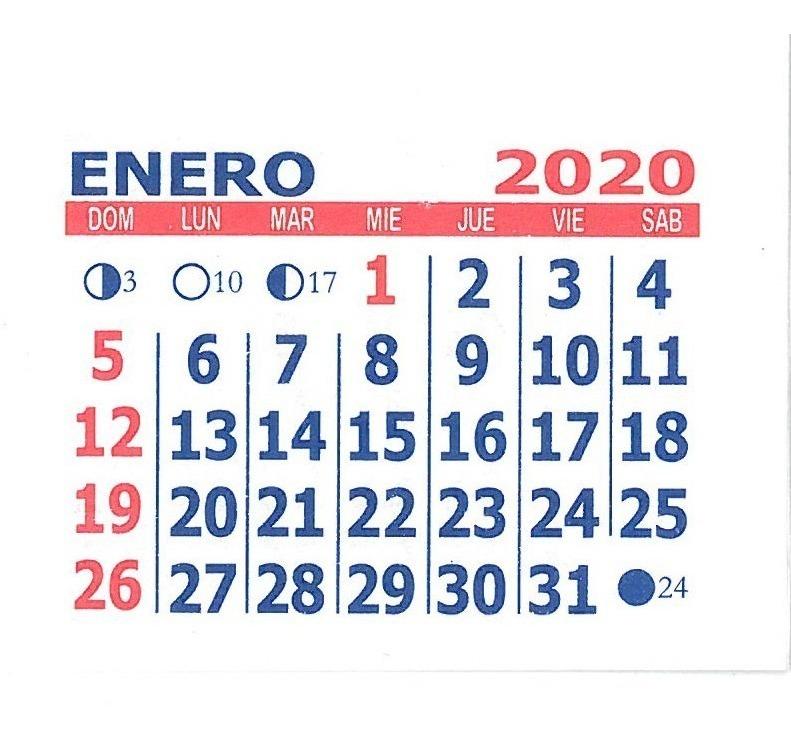 Seria Calendario 2020.Almanaques Calendario Mignon 2020 X 1000 U 5 5 Cm M Castro