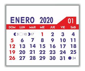 Calendario 2020trackidsp 006.Almanaques Calendarios 2020 Mignon5 5 X5 100 Unidades