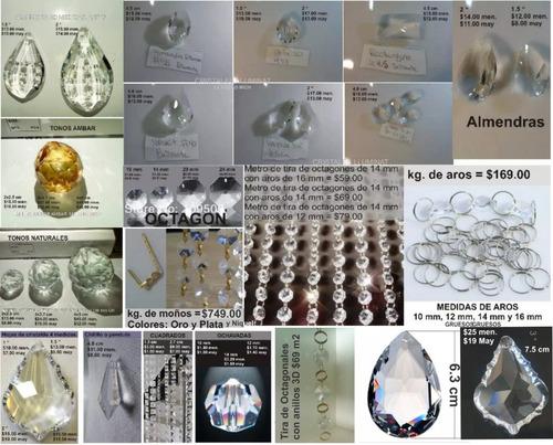 almendra de cristal 5 cm para candil, cortina o decoración