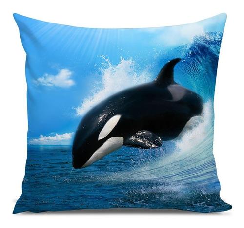 almofada acqua baleia orca wave 45x45cm