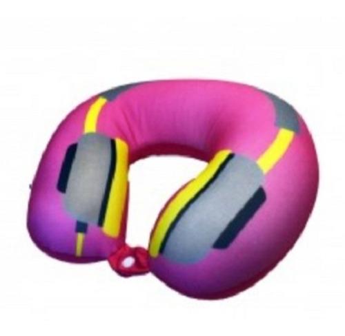 almofada apoio p/ pescoço viagem travesseiro com botao press