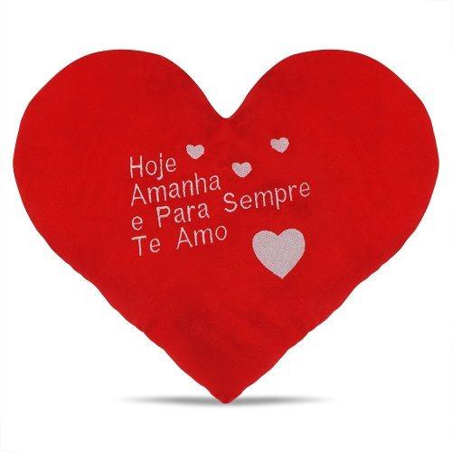 Almofada Atóxica Fofa Coração Frases Bordadas Vermelho 33 Cm