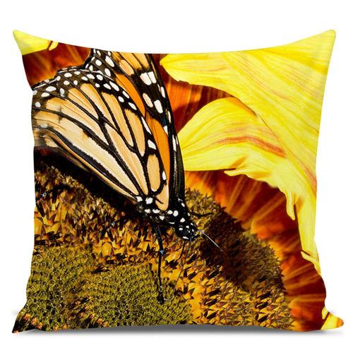 almofada borboleta monarca 45x45cm