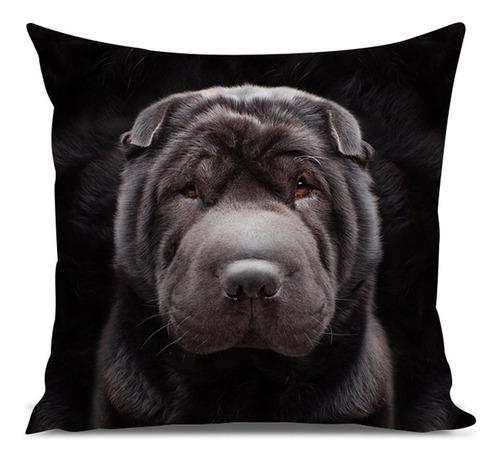 almofada cachorro sharpei preto 45x45cm