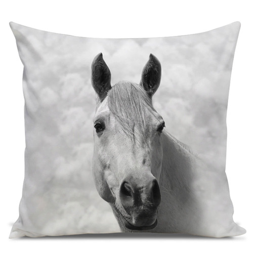 almofada cavalo árabe branco 45x45cm