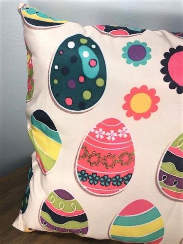 almofada com capa de tecido com zíper - pascoa 40x40cm