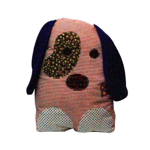 almofada de retalhos com cara de cachorro, 37x30cm