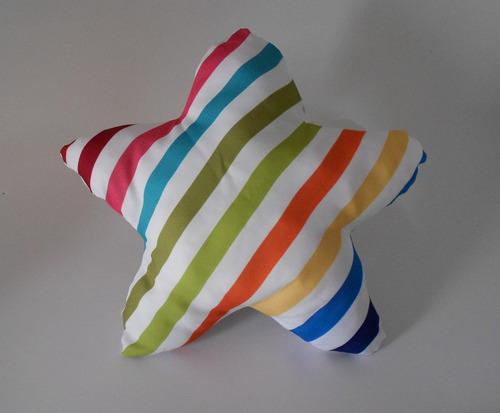 almofada decorativa estrela listras colorida