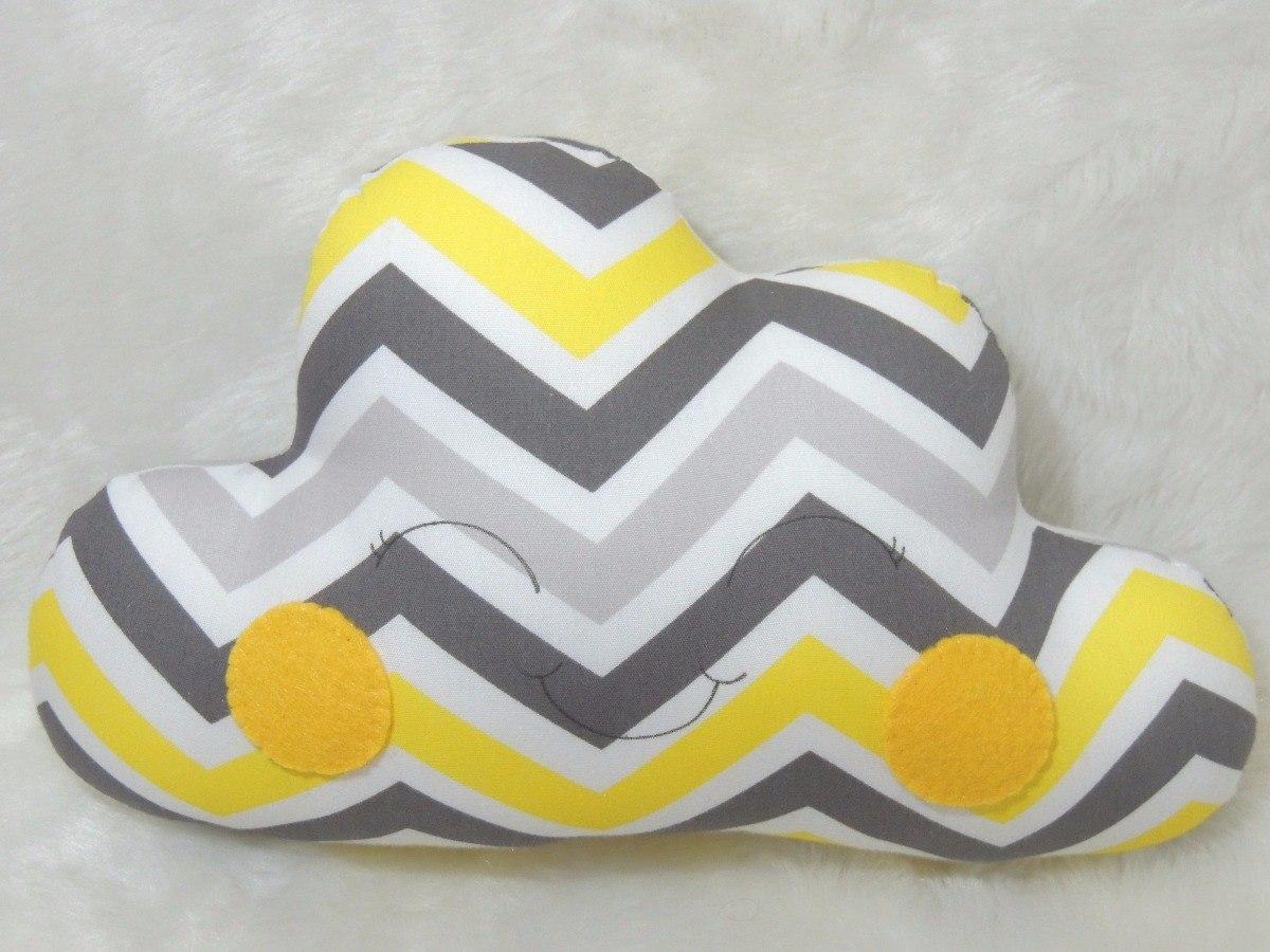 d23c4336748dfb Almofada Decorativa Infanti De Nuvem Cinza E Amarelo Chevron