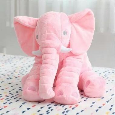 almofada elefante travesseiro pelúcia bebê dormir cinza 60cm