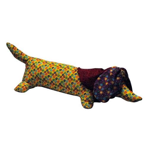almofada em forma de cachorro dachshund, estampado, 55x22cm