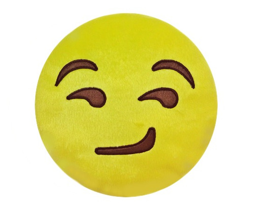 almofada emoji feliz sorridente em pelúcia bordado
