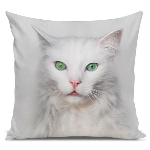 almofada gato angorá olhos verdes 45x45cm