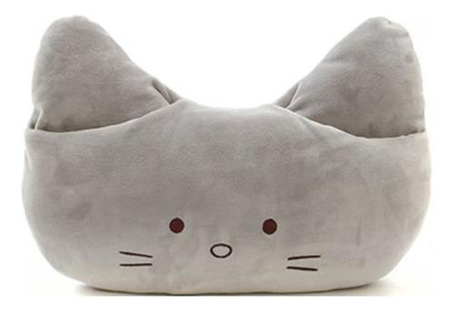 almofada gato com encaixe para mãos miniso - cor cinza