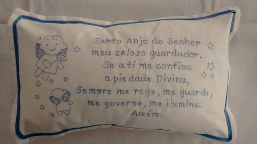 almofada oração santo anjo (bordada) segura bebê