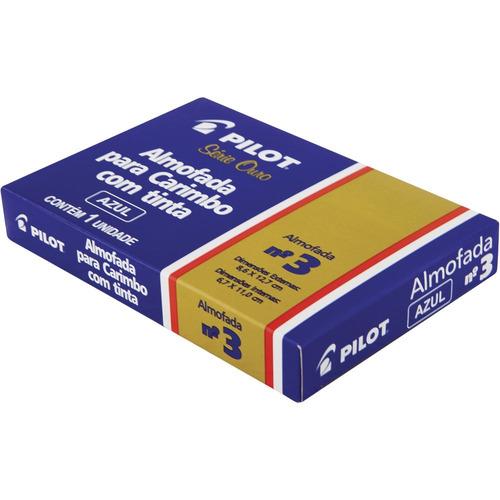 almofada p/ carimbo pilot n° 03 azul serie ouro carimbeira