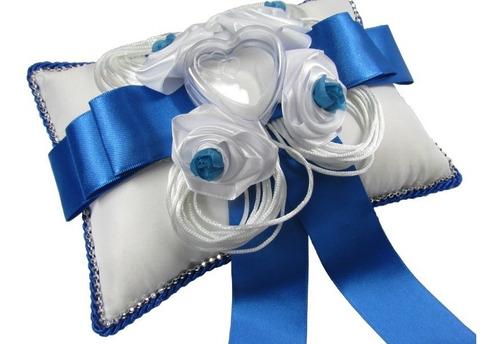 almofada porta aliança para casamento - azul royal e branco