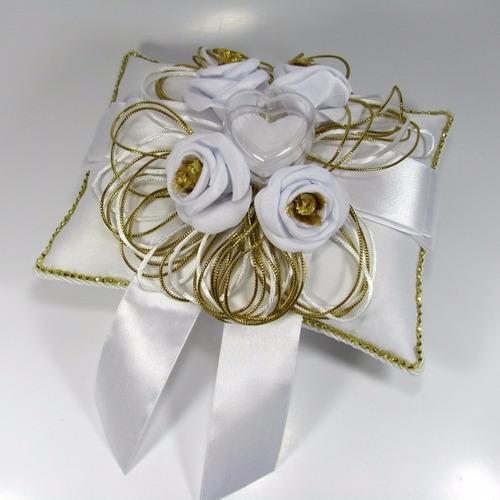 almofada porta aliança para casamento - dourado com branco