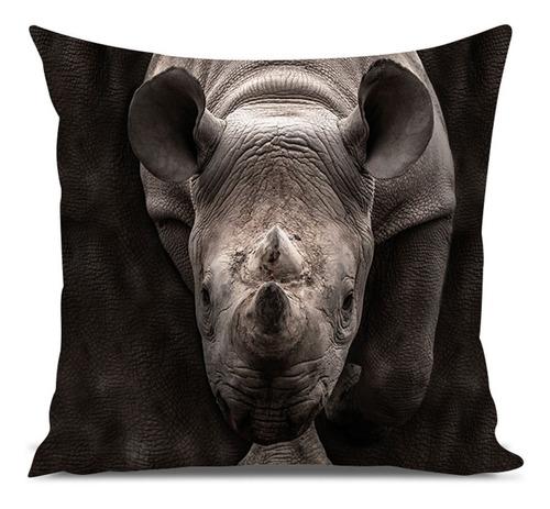 almofada selvagem rinoceronte 45x45cm