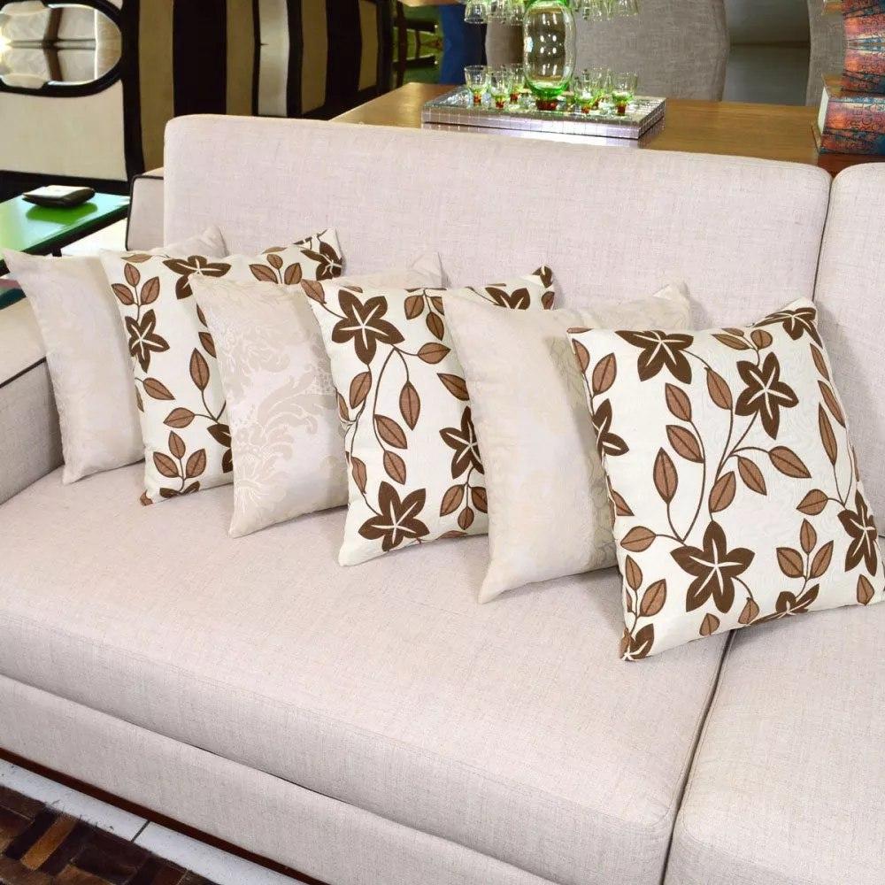 ee7940ac4 almofadas bege com marrom floral decorativas sala 6 peças. Carregando zoom.
