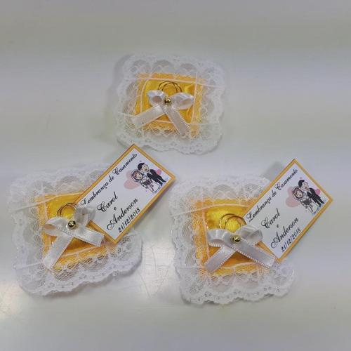 almofadinhas lembrancinha casamento bodas - amarelo com 100