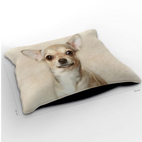 almofadão cachorro chihuahua bege 120x84cm