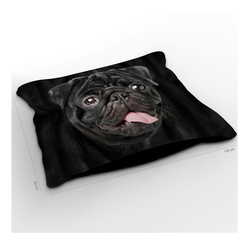 almofadão cachorro pug preto 120x84cm