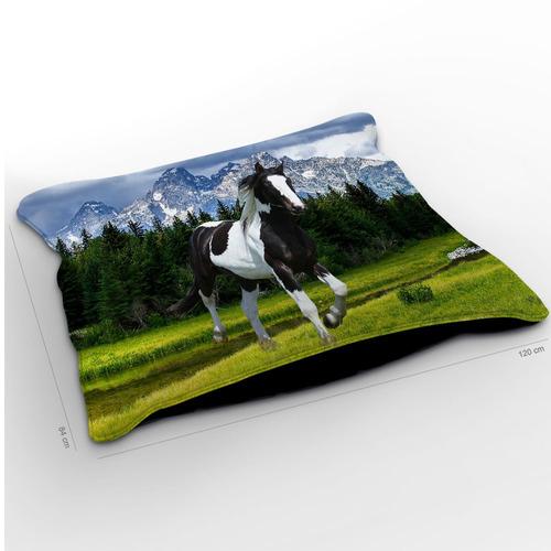 almofadão cavalo pampa preto 120x84cm