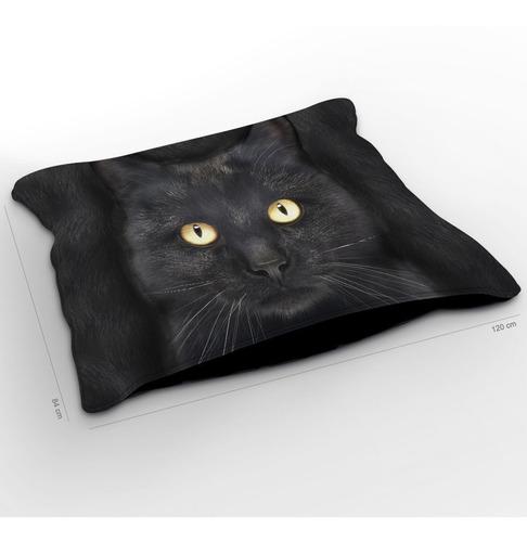 almofadão gato bombaim preto 120x84cm